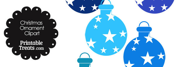 Christmas Ornament Clipart in Shades of Blue