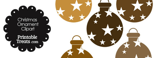 Christmas Ornament Clipart in Shades of Brown