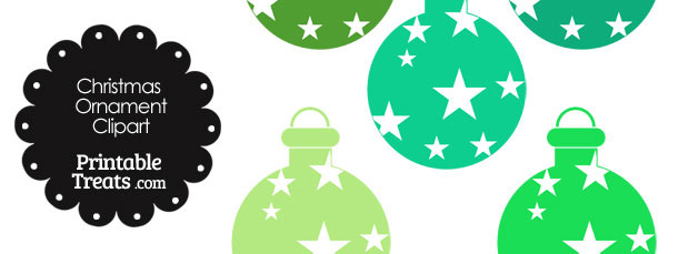 Christmas Ornament Clipart in Shades of Green