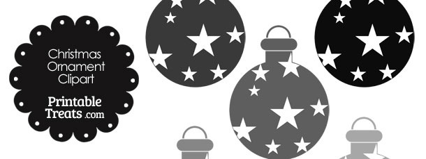 Christmas Ornament Clipart in Shades of Grey