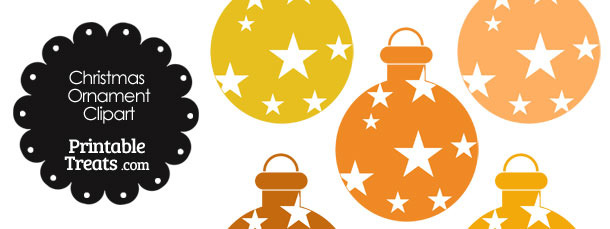 Christmas Ornament Clipart in Shades of Orange