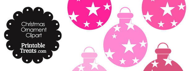 Christmas Ornament Clipart in Shades of Pink