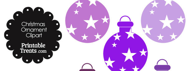 Christmas Ornament Clipart in Shades of Purple