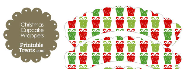 Christmas Presents Scalloped Cupcake Wrappers