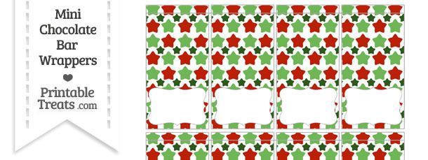 Christmas Stars Mini Chocolate Bar Wrappers