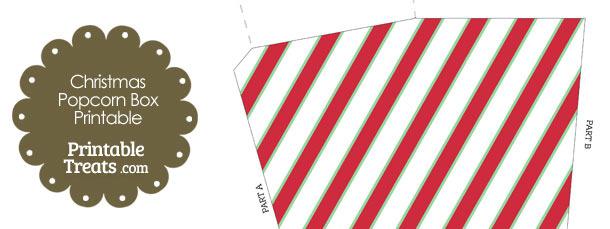 Christmas Stripes Popcorn Box