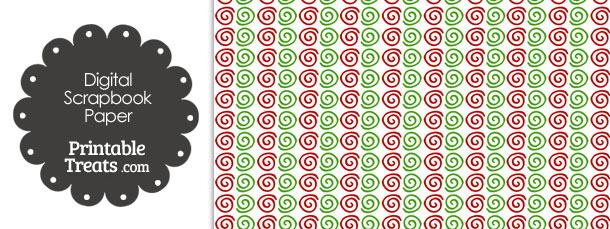 Christmas Swirls Digital Scrapbook Paper