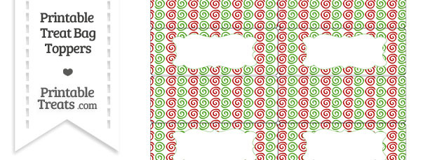 Christmas Swirls Treat Bag Toppers