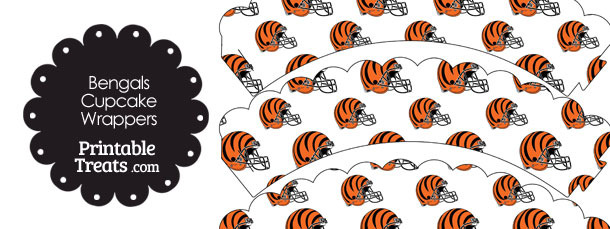 Cincinnati Bengals Football Helmet Scalloped Cupcake Wrappers