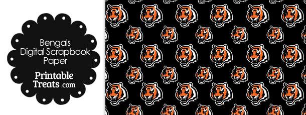 Cincinnati Bengals Logo Digital Paper with Black Background