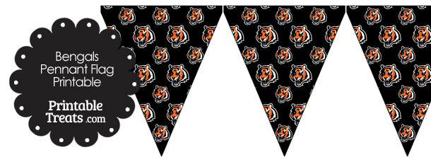 Cincinnati Bengals Logo with Black Background Pennant Banners