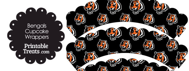 Cincinnati Bengals Logo with Black Background Scalloped Cupcake Wrappers