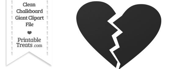 Clean Chalkboard Giant Broken Heart Clipart