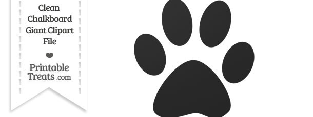Clean Chalkboard Giant Cat Paw Print Clipart