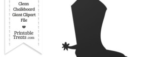 Clean Chalkboard Giant Cowboy Boot Clipart