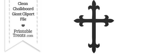 Clean Chalkboard Giant Fancy Cross Clipart