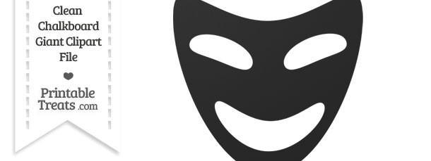 Clean Chalkboard Giant Happy Theater Mask Clipart