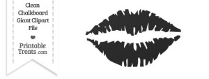 Clean Chalkboard Giant Kiss Clipart