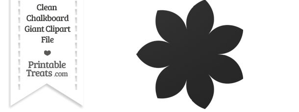 Clean Chalkboard Giant Pointed Petal Flower Clipart