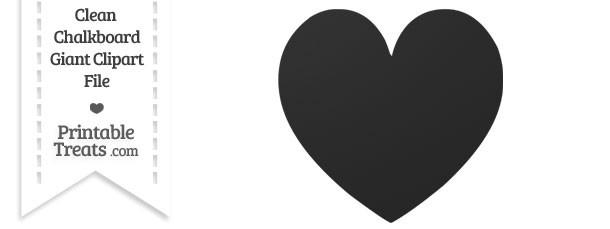 Clean Chalkboard Giant Skinny Heart Clipart
