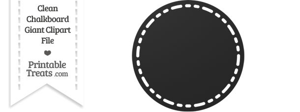 Clean Chalkboard Giant Stitched Circle Clipart