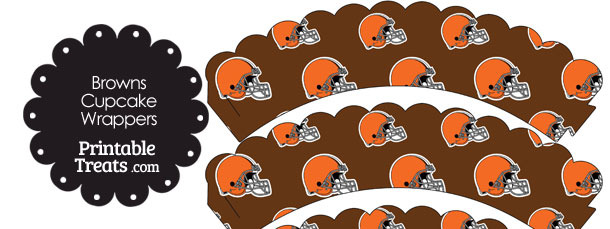 Cleveland Browns Football Helmet Scalloped Cupcake Wrappers
