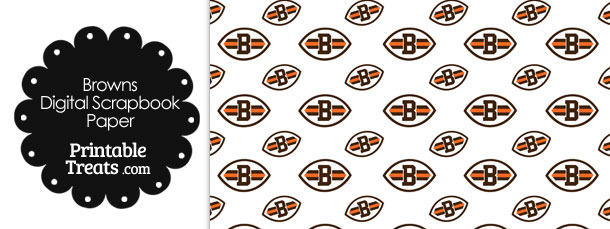 Cleveland Browns Logo Digital Paper with White Background