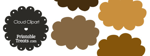 Cloud Clipart in Shades of Brown from PrintableTreats.com