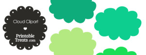 Cloud Clipart in Shades of Green from PrintableTreats.com