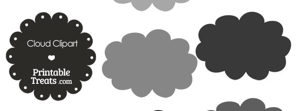 Cloud Clipart in Shades of Grey from PrintableTreats.com