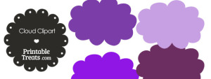 Cloud Clipart in Shades of Purple from PrintableTreats.com