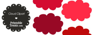 Cloud Clipart in Shades of Red from PrintableTreats.com