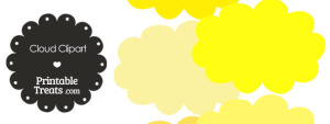 Cloud Clipart in Shades of Yellow from PrintableTreats.com