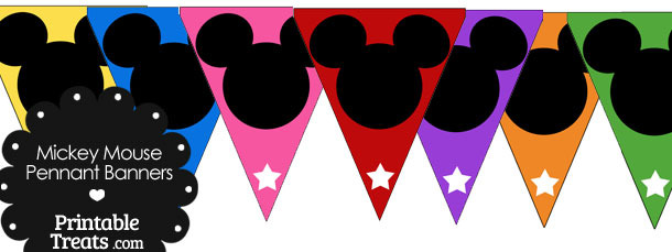 Colorful Mickey Mouse Head Pennant Banners
