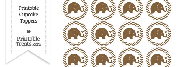 Coyote Brown Baby Elephant Chevron Cupcake Toppers