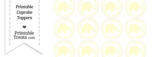 Cream Baby Elephant Chevron Cupcake Toppers