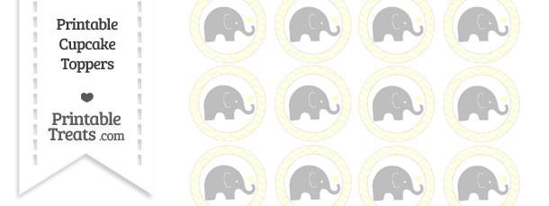 Cream Chevron Baby Elephant Cupcake Toppers