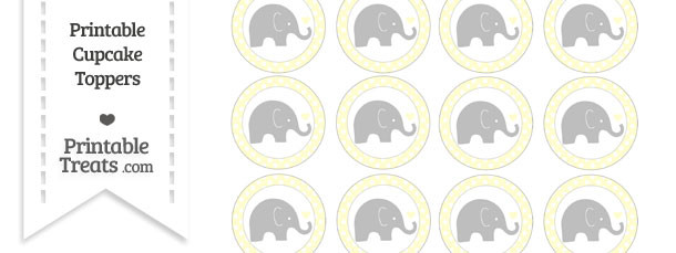 Cream Polka Dot Baby Elephant Cupcake Toppers