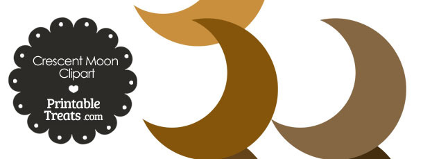 Crescent Moon Clipart in Shades of Brown