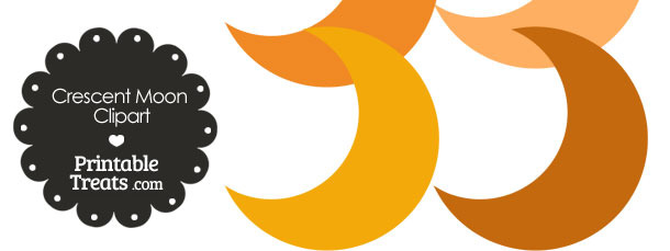 Crescent Moon Clipart in Shades of Orange