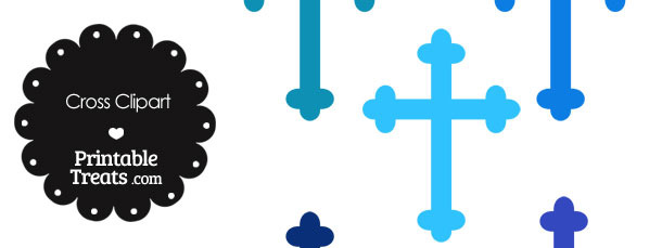 Cross Clipart in Shades of Blue