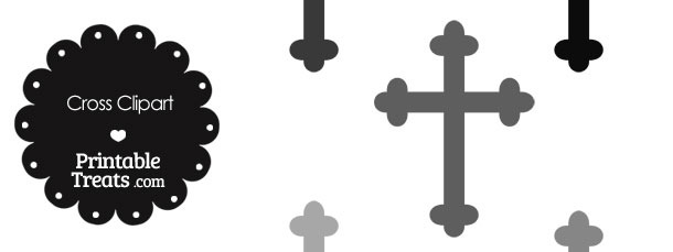 Cross Clipart in Shades of Grey