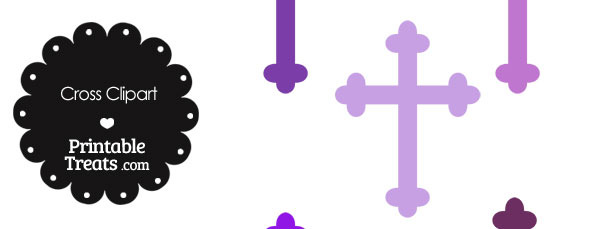 Cross Clipart in Shades of Purple