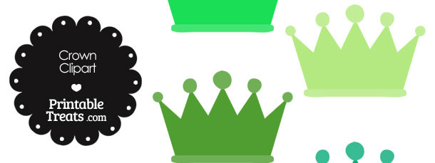 Crown Clipart in Shades of Green