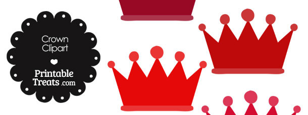 Crown Clipart in Shades of Red