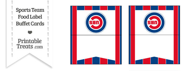 Cubs Food Label Buffet Cards