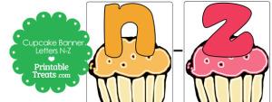 Cupcake Birthday Banner Letters N-Z