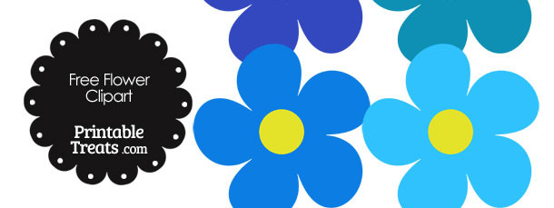 Cute Flower Clipart in Shades of Blue