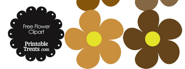 Cute Flower Clipart in Shades of Brown