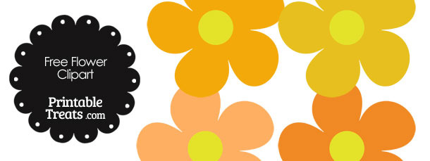 Cute Flower Clipart in Shades of Orange